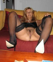 Dirty MILF in black sexy lingerie