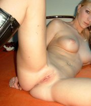 Blonde ex beauty with long legs and big natural tits