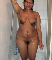 Hairy chubby wife shows her body