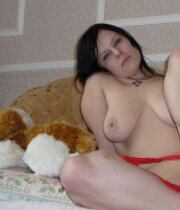 Black haired babe with saggy tits