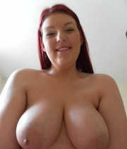 Busty woman cock blowing