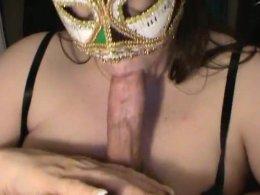Masked horny darling gagging deep