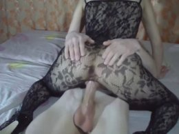 Naughty Fucking Act With His Girl in Full-body Stockings