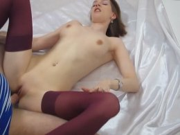 Sexy Teen In Stockings Gets Fucked In Missionary After A Blowjob