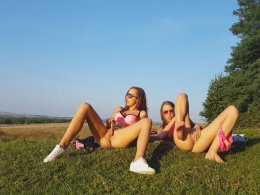 Who wouldn't like to join these two gorgeous amateur babes outdoors