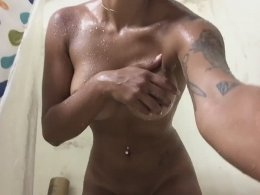 Delicious tanned honey takes a nice long bath