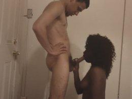 Black sweetie is pleasing sensual white cock