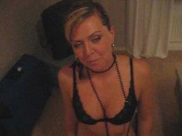 Horny slut in black lingerie sucks my hard pole