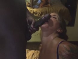 Sexy brunette sucks off BBC with no hands