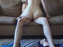 Amateur couple doing some sex on the couch