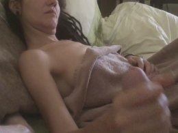 Skinny amateur bitch made into giving a handjob and a blowjob
