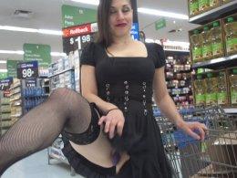 Amazing girlfriend in black stockings flashing in public