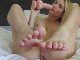 Blonde Hailey playing with her favorite toy