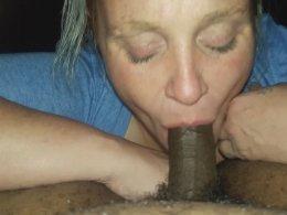 Mature wife swallowing my long schlong again