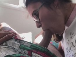 Geeky brunette with glasses bends over for my pleasure tool