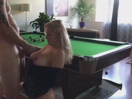 Amateur hot MILF fucking on the pool table