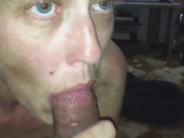 Older gal has a cock in her mouth and does't let it go