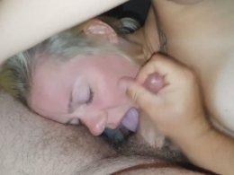 Mature wife sucking a hubby's prick int he night