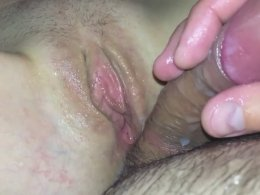 Stroking my uncircumcised cock near her pussy