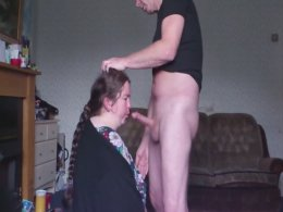 Big old chick taking a load of the grandpa in her mouth