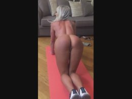 Filming her doing yoga, completely naked
