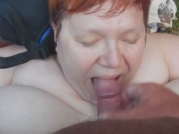Fat ugly wife getting her mouth filled with jizz
