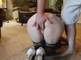 Mature wife in a schoolgirl uniform dominated