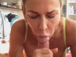 Love the way this blonde gags on a dick