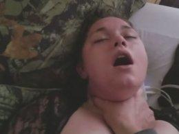 Chubby slut gets choked, fucked and slapped like she likes it