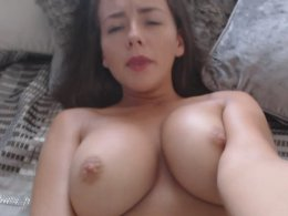 Cute girl with nice tits dildoing her pussy