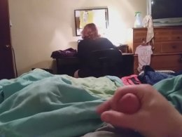 Stroking my dick while my friend is watching a movie