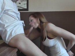 Gorgeous girlfriend sucking a hard cock