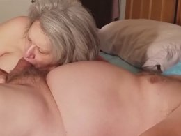 Granny sucking a much younger cock