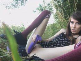 Cute skinny schoolgirl in the outdoor masturbation