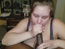 Chick sucks a dick like her life depends on it