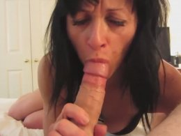 Milf eats his dick and her asshole