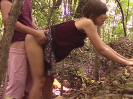 Sweet brunette girl likes to suck a dick outdoors