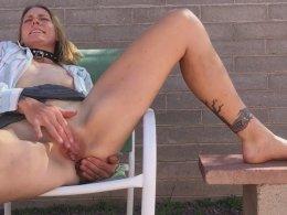 Horny mommy masturbates outdoors
