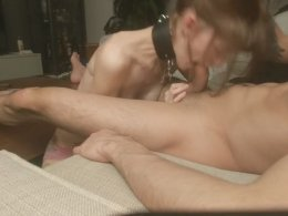 Young hottie slurps on a fat dick