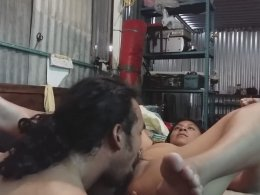 Big load of cock pleases a skinny babe