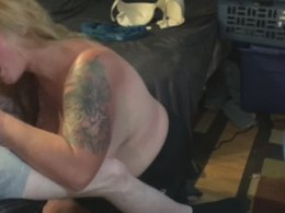 Tattooed wife finally gets to play with a dick