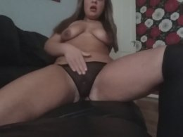 Solo amateur chick has fun with a toy
