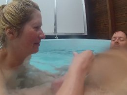 Hot cutie jerks a long cock in the pool