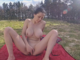 Busty sweetie tries out a long toy