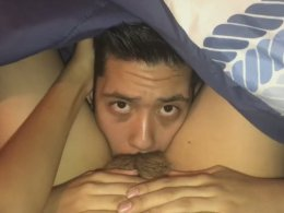 Licking a hairy pussy is his fetish
