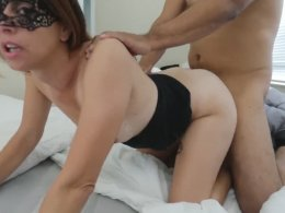 Girl with a mask gets her cunt banged