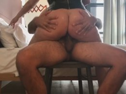 Riding a hard cock makes her moan