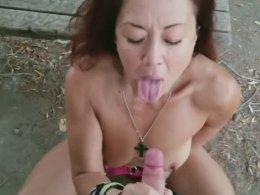 Brunette girl sucked my cock outdoors