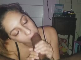 Thick shaft in her slutty mouth makes her so happy