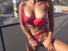 Red Lingerie And Teasing On The Balcony